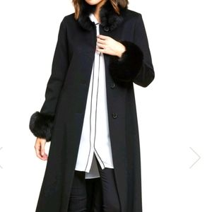 Jones New York s8 black maxi wool coat
